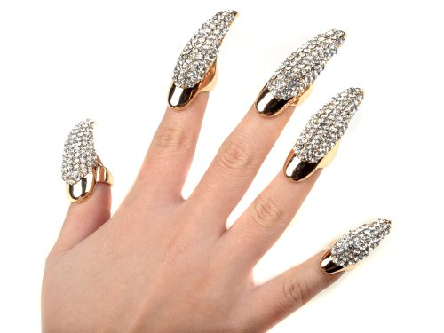 5X False Nail Clear Crystal Claw Paw Talon Finger RING