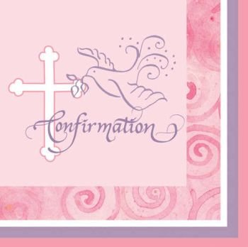 Faithful Dove Pink Confirmation Luncheon Napkins