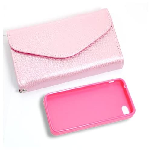 [Aftermarket Product] Pink Wallet Card Faux Leather Flip Case+Pink Plastic Back Protecion Case For Apple iPhone 4S New