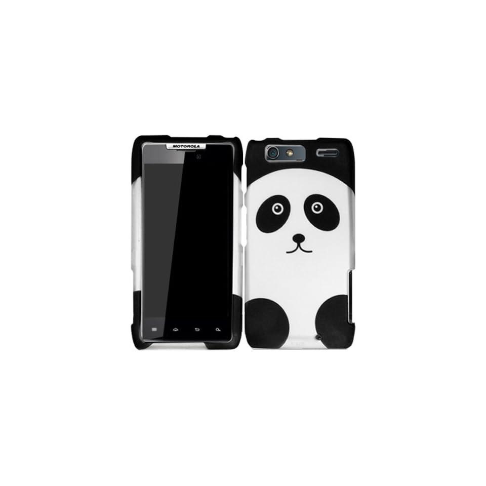 Panda Bear Black White Hard Case Cover For Motorola Droid Razr Maxx 912M 913 916 Razor Max with Free Pouch