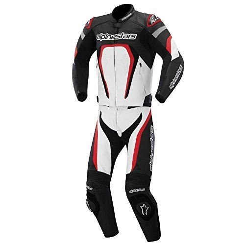 Alpinestars Motegi Men's 2-Piece Street Motorcycle Race Suits - Black/White/Red / 56