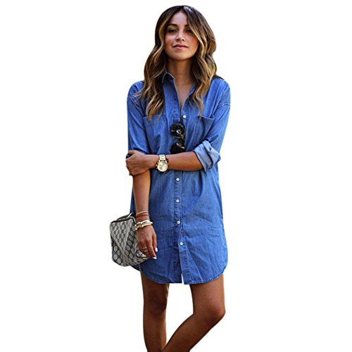Gillberry Women Long Sleeve Cowboy Denim Shirt Casual Blouse Tops T Shirt (S, Blue) (Wholesale Clothing Women compare prices)