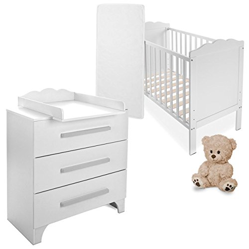 babybett kinderbett komplettbett mit wickelkommode inkl lattenrost und matratze aus naturfasern. Black Bedroom Furniture Sets. Home Design Ideas
