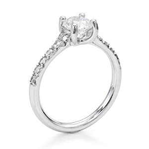 Diamond Engagement Ring in 18K Gold / White GIA Certified, Round, 0.68 Carat, E Color, SI2 Clarity