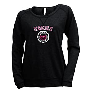 NCAA Virginia Tech Hokies Ladies Striped Baby French Terry Crew Sweatshirt by Ouray Sportswear