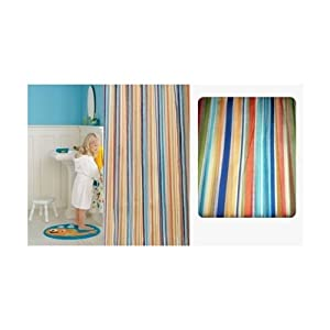 Jumping Beans Underwater Creatures Striped Fabric Shower Curtain