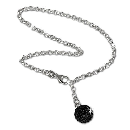 SilberDream anklet gltter ball with black Zirconia, 925 Sterling Silver 9.8 inch SDF010S