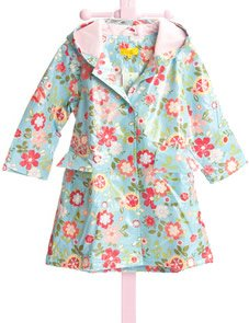 Raincoats for Kids: Pluie Pluie Lined Blue Flower Girls Raincoat