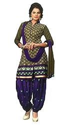 SGC Mehendi & Blue Cotton Embroidery unstitched churidar Patiyala (NKT-5106)