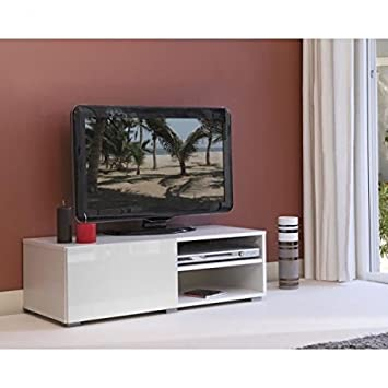 LIME Meuble TV contemporain blanc - L 96 cm