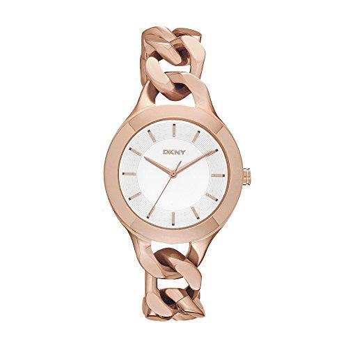 DKNY  NY2218 - Reloj de cuarzo con correa de acero inoxidable para mujer, color rosa