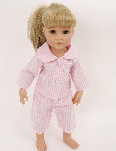 NEW! PALE PINK CHECKED PYJAMAS SMALL SIZE TO FIT 14-18INS DOLLS AND BEARS