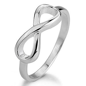 Justeel Damen 925 Sterling-Silber 925 Ring Silber Unendlichkeit Symbol 8 Ring Größe 52 (16.6) (mit Geschenk Tüte)