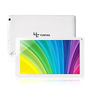 Yuntab 10.1inch android tablets Google Tablet PC, TP HD 1024*600 Capacitive Screen, Android 4.4 KitKat, Quad Core Allwinner A33 512 MB RAM 8GB ROM 1.5GHz, Dual Cameras 0.3MP 2.0MP, WiFi, Bluetooth Google Play Pre-loaded, External 3G ,3D-Game (White/ UK 3