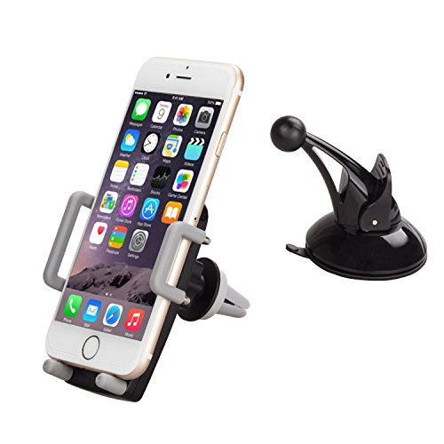 Bestfy 2-in-1 Universal Car Phone Mount Holder For Windshield & Air Vent With Metal Vent Mount with Big Strong Suction Cup, Padded, Adjustable Grips for iPhone, Samsung, GPS etc (Acrylic-Black)