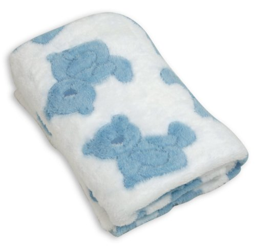 Stephan Baby Pot-Bellied Bear Ultra Soft Plush Fleece Blanket, Blue