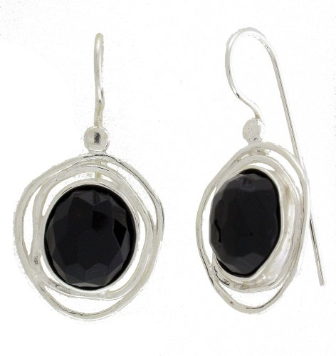 Silver Jewelry, Earring SET with TWO Oval 10/12mm Faceed Synthetic Black Onyx. Hook Earrings with Lock Back. Hand Made and Designed in Israel By Bili Silver. 925 Sterling Silver. Great Gift for Wedding, Bat Miztva, Mother's Day, Bridesmaid, Anniversary, Valentine, and All Occasions. Gift Box Included.