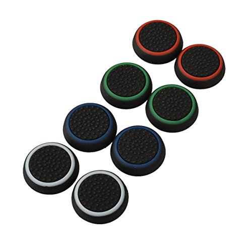 4 Pair / 8 Pcs Replacement Silicone Thumb Grip Stick Analog Joystick Cap Cover for Ps3 / Ps4 / Xbox 360 / Xbox One Game Controllers Black (Xbox One Controller Stick Covers compare prices)
