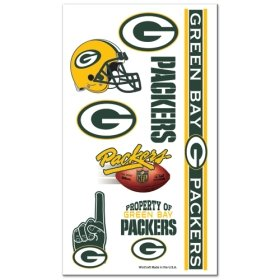 Green Bay Packers NFL Temporary Tattoos (10 Tattoos)
