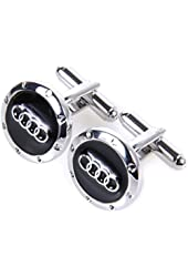 Audi Cufflinks - Car Logo in Black and Silver