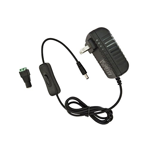 AspenTek Us Led Power Supply Adapter with on Off Switch for Led Rigid Bar or Led Strip Light 110vac Input to Dc 12v 12watts