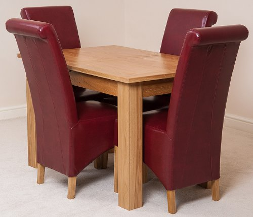 Hampton Solid Oak Extending Dining Table 4 Red Montana Chairs Amazon