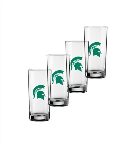Ncaa Michigan State Spartans Set Of 4 Highball Glasses, 15-Ounce