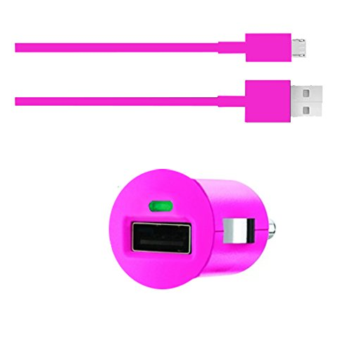 Premium 2in1 SET KFZ Auto Adapter + micro USB Datenkabel - PINK - Ladegerät - Ladekabel - Alcatel One Touch Idol S - One Touch 992D - One Touch Idol 2 Dual SIM - One Touch Idol 2 - One Touch Hero - Original Lanboo zubehör