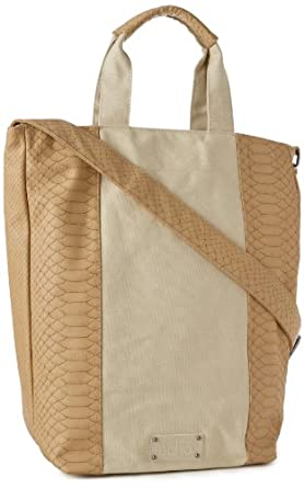 Echo Design Women's Snake And Canvas North South Tote Bag, Natural, One Size