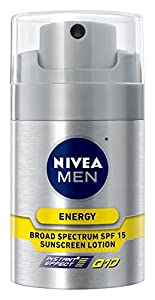NIVEA MEN Energy Moisturizing Face Lotion Q10, SPF 15, 1.7 oz Bottle