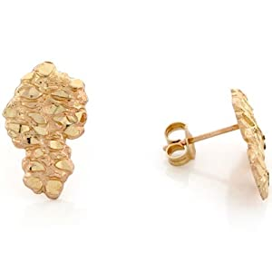 10k Solid Yellow Gold 1.0cm Nugget Pin Earrings