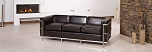 Brand New Dark Brown 2 Seater and 3 Seater Sofa Suite in Bonded Leather With Modern Chrome Frame       Customer review and more information