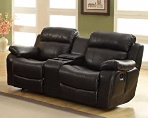 Darrin Leather Reclining Loveseat with Console -