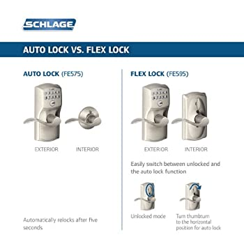 Schlage FE595VCAM619ACC Camelot Keypad Accent Lever Door Lock, Satin Nickel