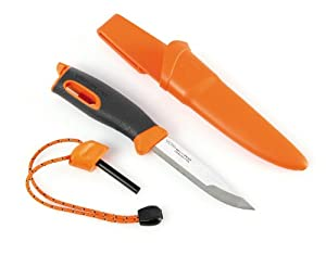 Light My Fire Swedish FireKnife with 9.5 cm (3.75 Inch) Sandvik Stainless Steel Blade and Swedish FireSteel Fire Starter, Orange