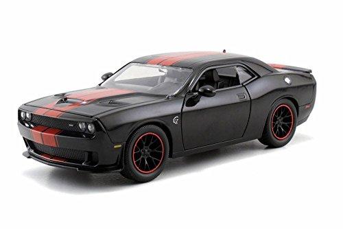 2015 Dodge Challenger SRT Hellcat, Black w/ Red - JADA Toys 97600 - 1/24 Scale Diecast Model Toy Car (Dodge Challenger Srt Diecast compare prices)