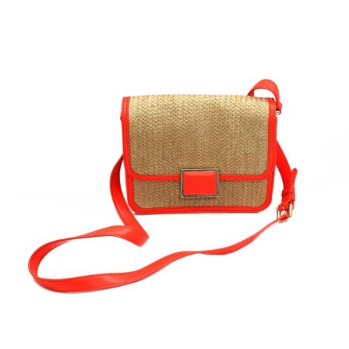 Marc By Marc Jacobs Marc By Marc Jacobs Natural Straw Fluoro Coral Small Swing/ Crossbody Bag (Red)