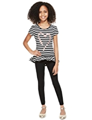 Cotton Rich Striped Sequin Heart Top & Leggings Outfit