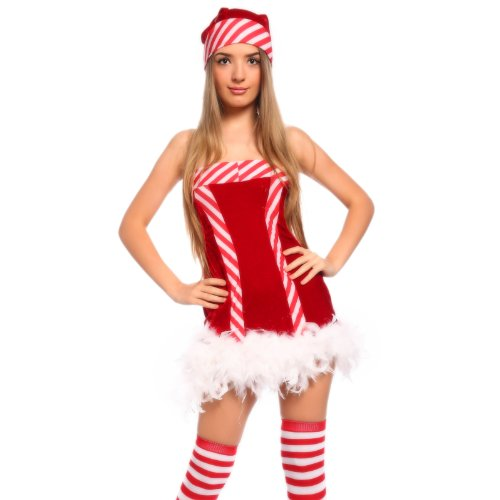 Sexy Ladies Miss Elf Santa Clause Candy Helper Christmas Xmas Costume w/ Hat