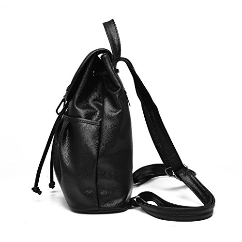 Ryse Womens Fashionable Classic Retro Simple Exquisite Backpack Students Bag(Black)