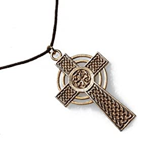 Small Celtic Cross Peace Bronze Pendant Necklace on Adjustable Natural Fiber Cord