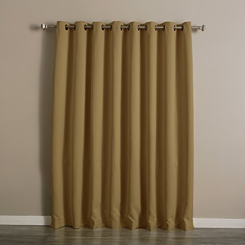 Best Home Fashion Wide Width Thermal Insulated Blackout Curtain - Antique Bronze Grommet Top - Wheat - 100