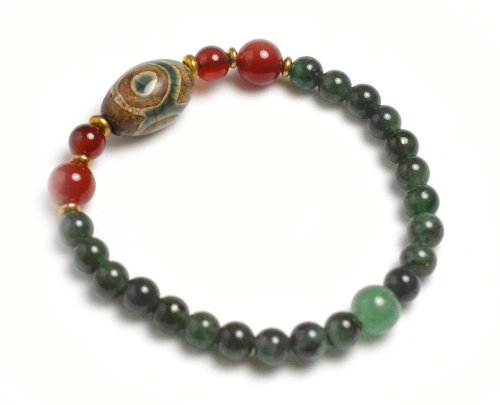Tibetan 3 Eyed Protection Dzi Bead Bracelet with 6mm Green Jade Beads – Fortune Feng Shui Jewelry