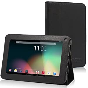 TabSuit PU Leather Folio Case with Stand for 7'' Dragon Touch K7 Android Tablet and more 7'' Tablets [By TabletExpress] (1.Black)