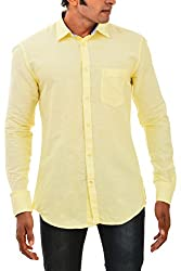 Indipulse Men's Casual Shirt (IF11600617B, Yellow, M)