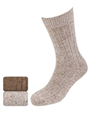 2 Pairs of North Coast Ribbed Socks with Wool