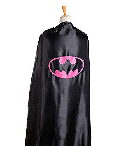 [Adult Superheroes Lightweight Vibrant Color Single Side Satin Tie Cape 55 Inches (Batwoman)] (Batwoman Costume Cape)