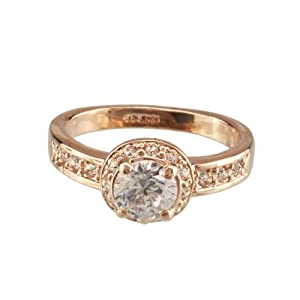 FM42 Rose Gold Finish Vintage Style Round Brilliant CZ Engagement Ring Size 8