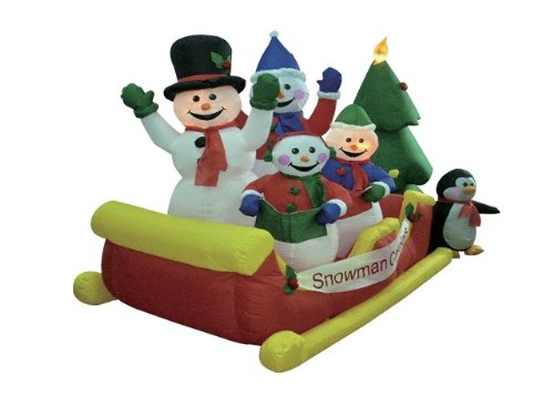 BZB Goods 8 Foot Long Lighted Christmas Inflatable Snowmen on Sleigh Yard Decoration