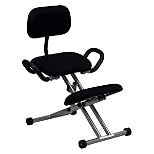 Flash Furniture Ergonomic Kneeling Chair with Handles - Black Fabric